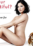 Olivia Munn nude but covered in peta ads