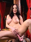 Melissa Lauren gets naked and plays with her huge pink dildo