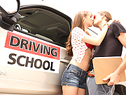 Teen whore fucks to pass her driving test!