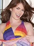 Fabulous Ashlyn Rae in her fancy rainbow dress flashing her sweet shaved pussy