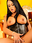 Busty latina Mariah Milano in leather corsette and boots