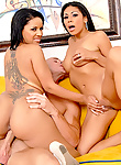 Two Spanish chicas share with one monster man meat